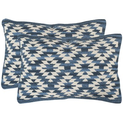 Navajo Cotton Lumbar Pillow Color: Blue
