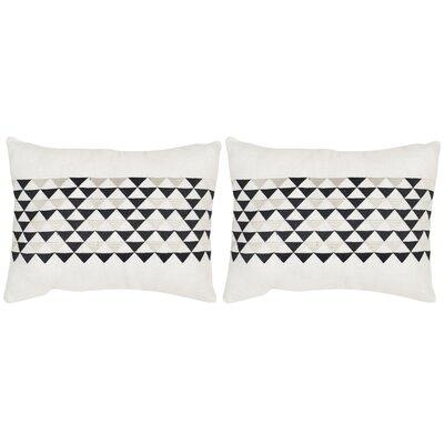 Geo Mountain Linen Lumbar Pillow Color: Slate