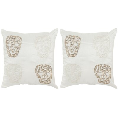 Quatre Skull Cotton Throw Pillow
