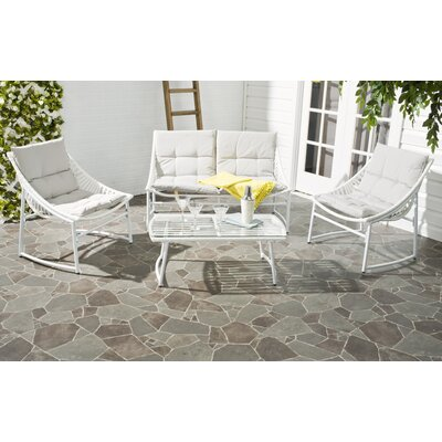 4 Piece Breanna Patio Group Set with Cushion Finish: White, Fabric: Gray