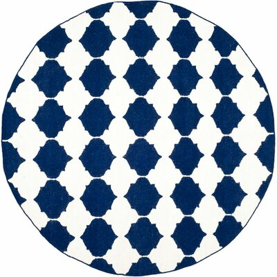 Dhurries Hand-Woven Wool Navy/Ivory Area Rug Rug Size: Round 7