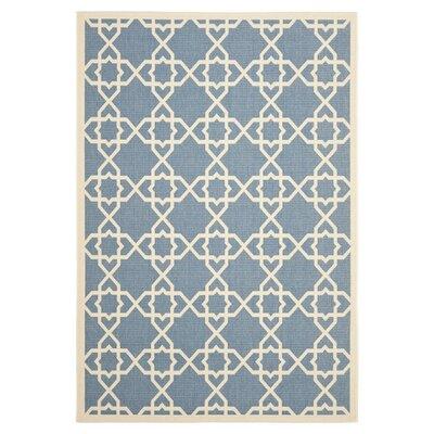 Courtyard Blue/Beige Indoor/Outdoor Rug Rug Size: 2' x 3'7