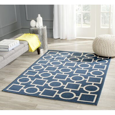 Jefferson Place Navy/Beige Indoor/Outdoor Rug Rug Size: Rectangle 4 x 57