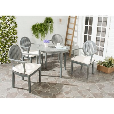 Chino 5 Piece Dining Set with Cushions Finish: Ash Grey