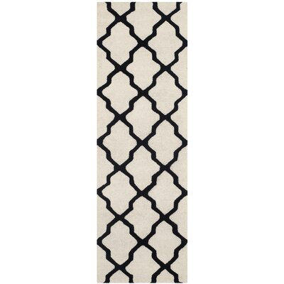 Gillam Hand-Tufted Wool Ivory/Black Area Rug Rug Size: Runner 26 x 8