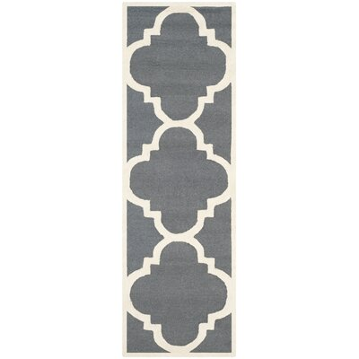 Blakemore Hand-Tufted Dark Grey/Ivory Area Rug Rug Size: Runner 26 x 8