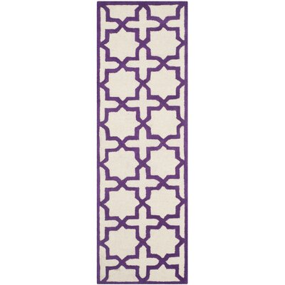 Martins Ivory / Purple Area Rug Rug Size: Runner 26 x 8