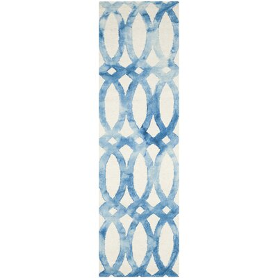 Hand-Tufted Ivory/Blue Area Rug Rug Size: Runner 23 x 10