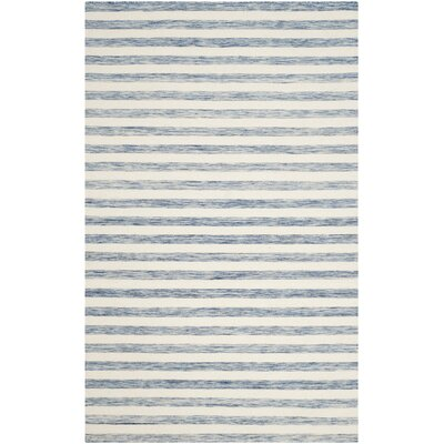 Dhurries Blue & Ivory Area Rug Rug Size: 4 x 6