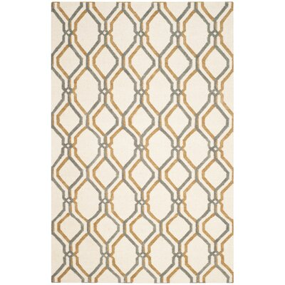 Dhurries Ivory / Blue Area Rug Rug Size: 8 x 10
