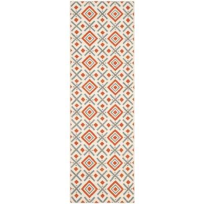 Dhurries Ivory / Tangerine Area Rug Rug Size: Runner 26 x 8