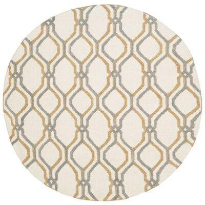 Dhurries Ivory / Blue Area Rug Rug Size: Round 6