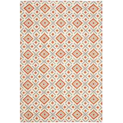 Dhurries Ivory / Tangerine Area Rug Rug Size: Rectangle 4 x 6