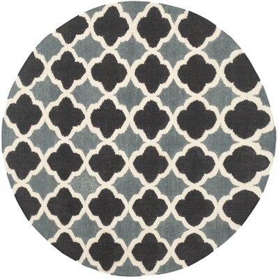 Dhurries Blue / Navy Area Rug Rug Size: Round 6