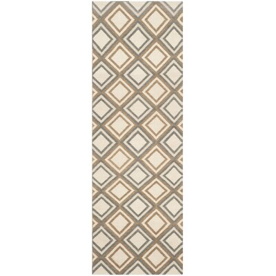 Dhurries Ivory / Blue Area Rug Rug Size: Runner 26 x 8