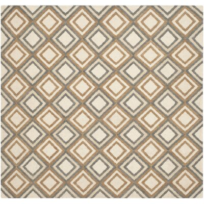 Dhurries Ivory / Blue Area Rug Rug Size: Square 6