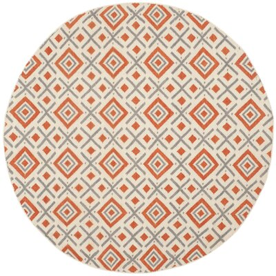 Dhurries Ivory / Tangerine Area Rug Rug Size: Round 6
