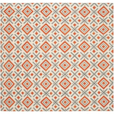 Dhurries Ivory / Tangerine Area Rug Rug Size: Square 6