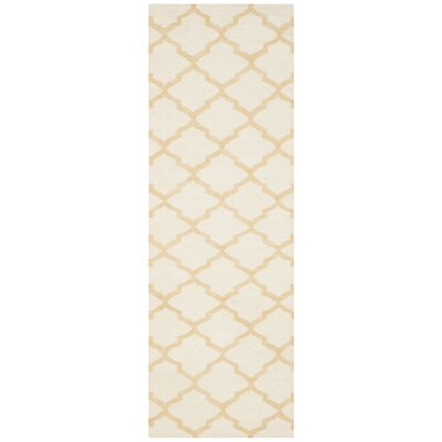 Dhurries Ivory / Gold Area Rug Rug Size: Runner 26 x 8