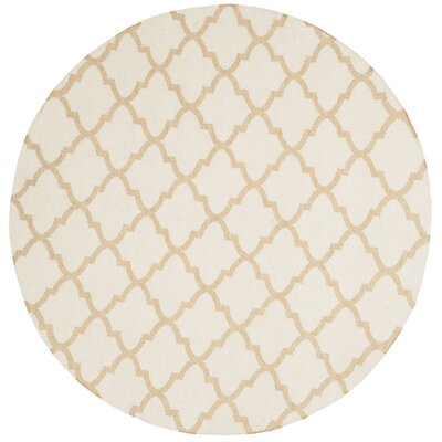 Dhurries Ivory / Gold Area Rug Rug Size: Round 6