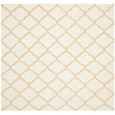 Dhurries Ivory / Gold Area Rug Rug Size: Square 6