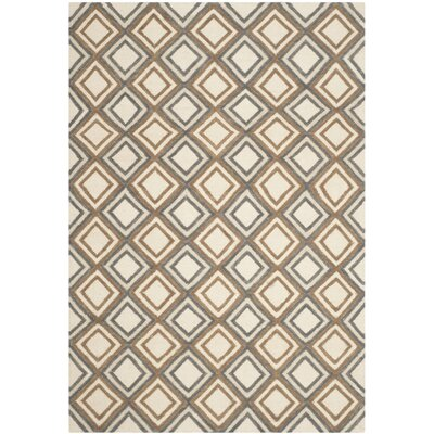 Dhurries Ivory / Blue Area Rug Rug Size: Rectangle 4 x 6