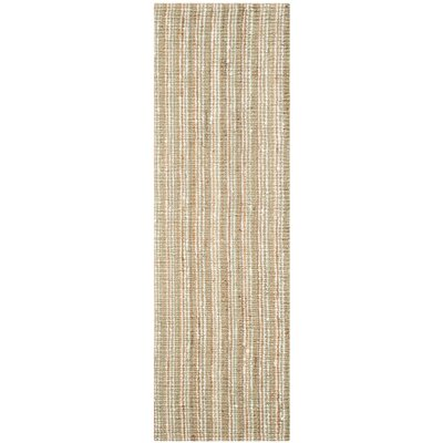 Bergeson Hand-Woven Sage/Natural Area Rug Rug Size: Runner 26 x 6