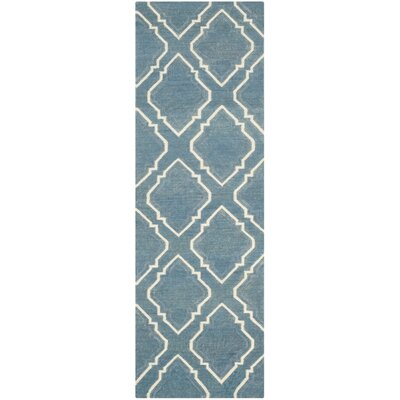 Dhurries Blue / Ivory Area Rug Rug Size: Runner 26 x 8
