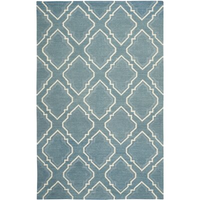 Dhurries Blue / Ivory Area Rug Rug Size: Rectangle 5 x 8