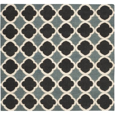 Dhurries Blue / Navy Area Rug Rug Size: Square 6
