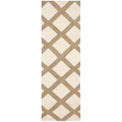 Dhurries 100 Ivory / Gold Area Rug Rug Size: Runner 26 x 8