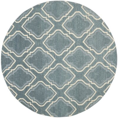 Dhurries Blue / Ivory Area Rug Rug Size: Round 6