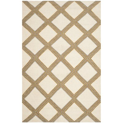 Dhurries 100 Ivory / Gold Area Rug Rug Size: Rectangle 4 x 6