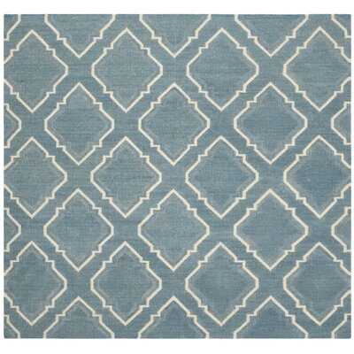 Dhurries Blue / Ivory Area Rug Rug Size: Square 6