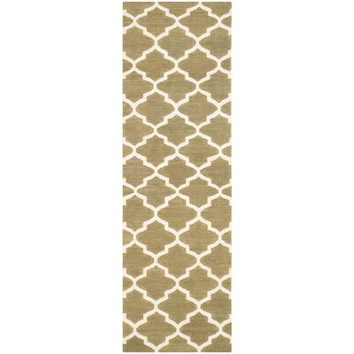 Dhurries Green / Ivory Area Rug Rug Size: Runner 26 x 8