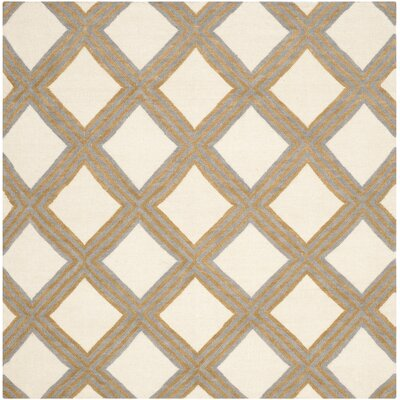 Dhurries 100 Ivory / Gold Area Rug Rug Size: Square 6