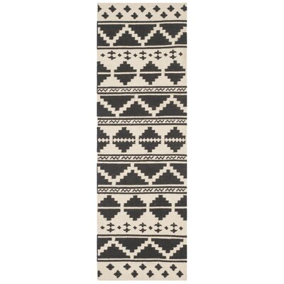 Dhurries 100 Black/Ivory Area Rug Rug Size: Runner 26 x 8