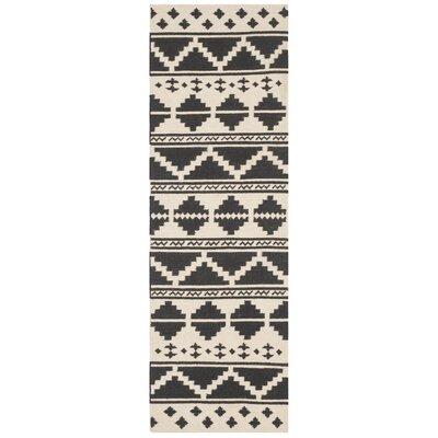 Dhurries 100 Black/Ivory Area Rug