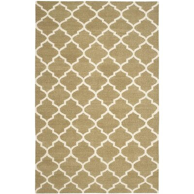 Dhurries Green / Ivory Area Rug Rug Size: 4 x 6