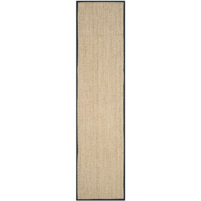 Driffield Hand-Woven Natural/Black Area Rug Rug Size: Runner 26 x 20