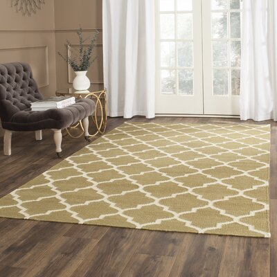 Dhurries Green / Ivory Area Rug Rug Size: Square 6