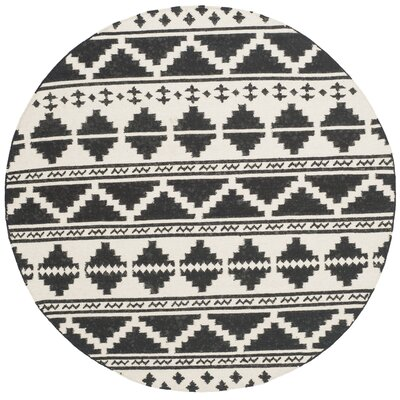 Dhurries 100 Black/Ivory Area Rug Rug Size: Round 6