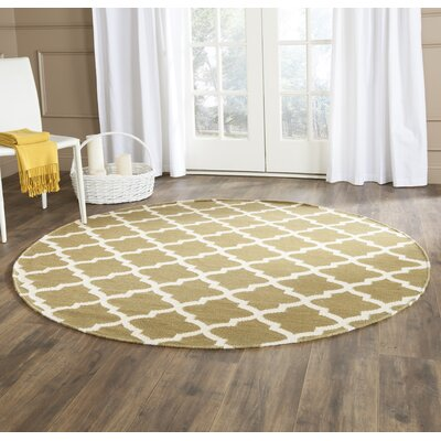 Dhurries Green / Ivory Area Rug Rug Size: Rectangle 8 x 10