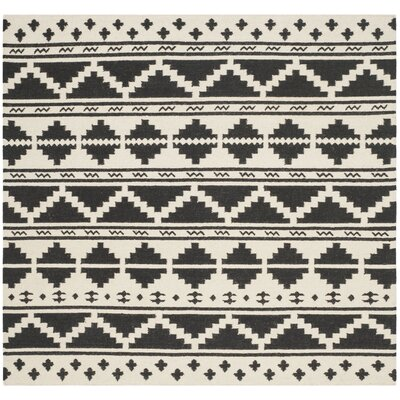 Dhurries 100 Black/Ivory Area Rug Rug Size: Square 6
