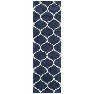 Duhon Shag Navy/Ivory Area Rug Rug Size: Rectangle 23 x 39