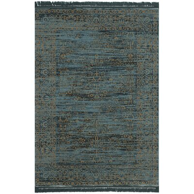 Serenity Turquoise & Gold Area Rug Rug Size: 8' x 10'