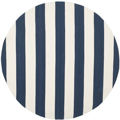 Brookvale Hand-Woven Cotton Navy/Ivory Area Rug Rug Size: Round 4'