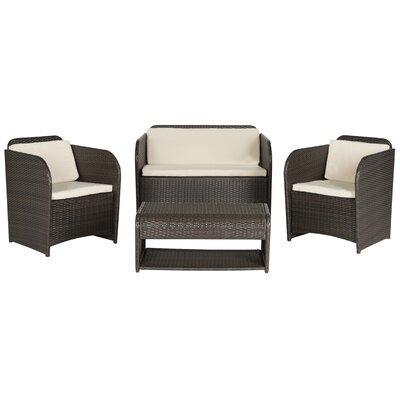 Caprina 4 Piece Deep Seating Group in Brown with Cushions Color: Brown/ Beige