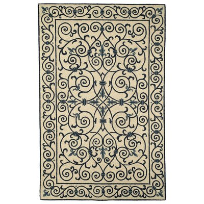 Chelsea Ivory/Blue Iron Gate Rug Rug Size: Rectangle 18 x 26