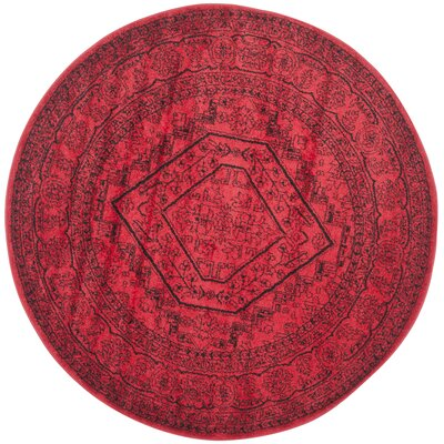 Nemisco Red Area Rug Rug Size: Round 6